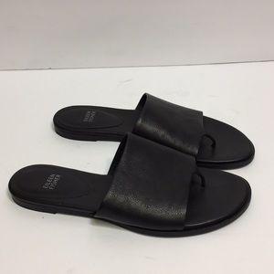 Eileen Fisher Black Leather Slides. Size 10